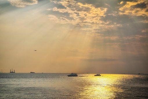 Sun Rays, Sunset, Boat, Sea, Ships