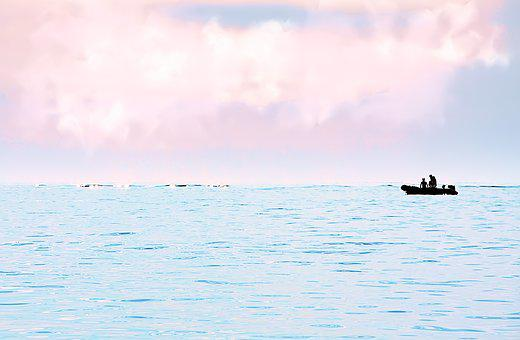 Silhouette, Boot, Sea, Color, Mood, Atmospheric