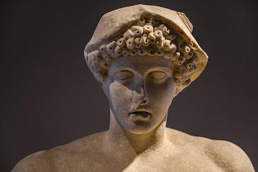 Statue, Sculpture, Stone, Face, Man, Young, Boy, Hermes