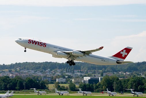 Airbus A340, Swiss Airlines, Airport Zurich, Jet