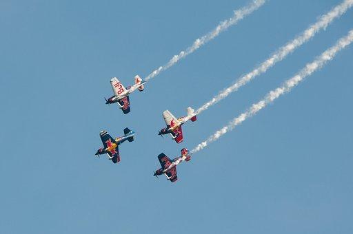 Aerobatics, Aircraft, Contrail, Smoke, Flugshow, M17