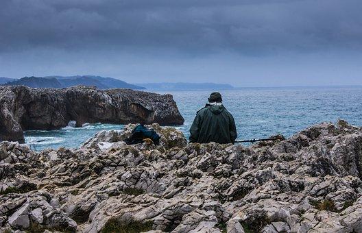 Asturias, Fisherman, Climate, Stone, Sea, Water