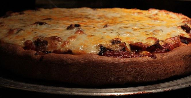 Pizza, Crust, Cheese, Mushroom, Bake, Closeup, Cuisine
