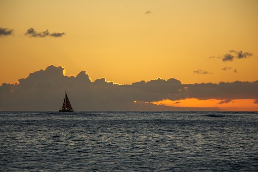 Sailboat, Hawaii, Sunset, Colors, Sea, Ocean, Boat