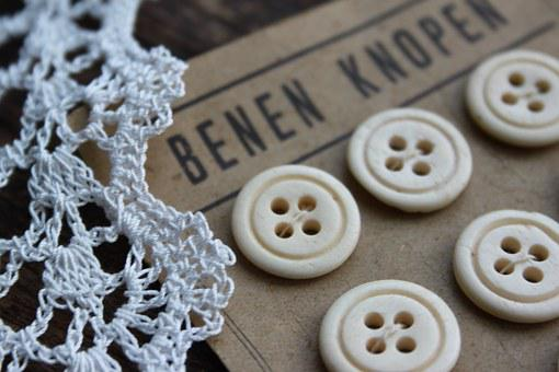 Brocante, Old Buttons, Crochet Lace, Decoration, White