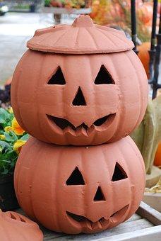 Jack-o-lanterns, Halloween, Pumpkins, Jar, Clay