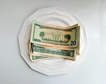 Money, Dollars, Tip, Cash, Plate, Money On A Plate