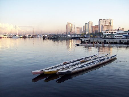 Dragon Boat, Boats, Trio, Water, Tranquil, Port, Sky