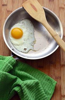 Eggs, Fried, Sunny Side Up, Skillet, Spatula, Food