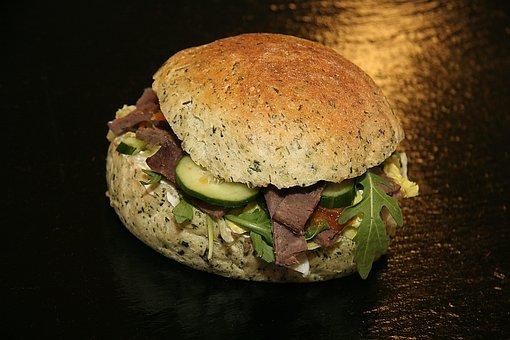 Sandwich, Gyros, Salad, Rukola, Cucumber, Food, Dining