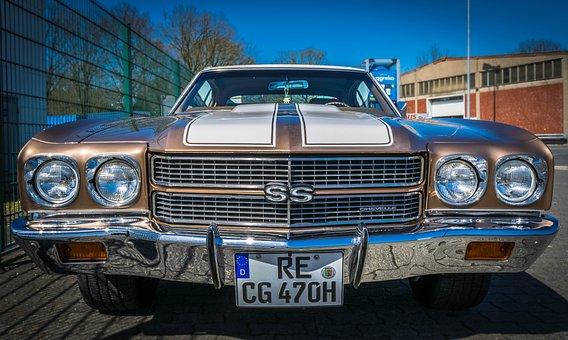 Oldtimer, Chevrolet, Chevelle, Front, Ss, Chrome