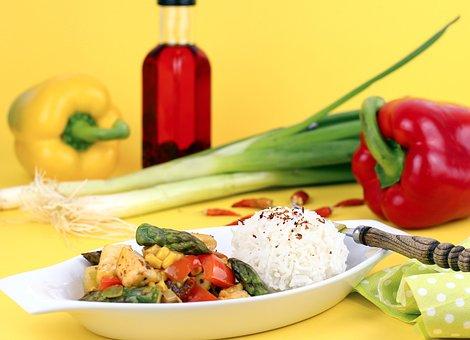 Asparagus, Halloumi, Lunch, Wok, Wok Dish, Fry Up, Food