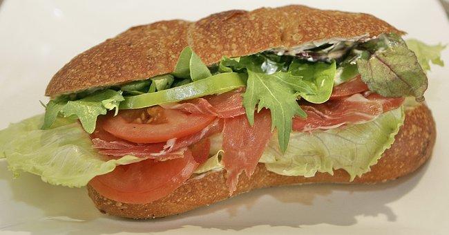Sandwich, Ham, Smoked, Food, Dining, Salad, Tomato