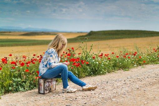 Suitcase, Person, Happy, Calm, Young, Soledad