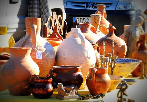 Pottery, Flea Market, Spain, Jars