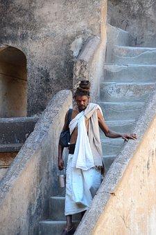 India, Sadhu, Holy, Man, Stairs