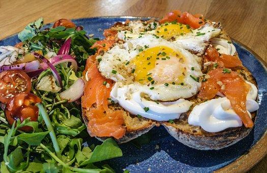 Sandwich, Salmon, Fried Egg, Eggs, Salad, Meal, Menu