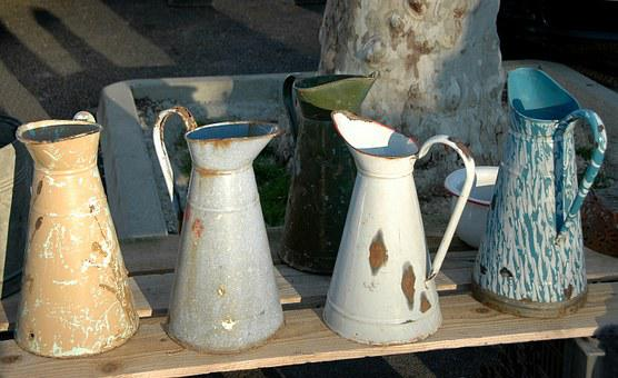 Flea Market, Jug For Water, Metal Enamelled