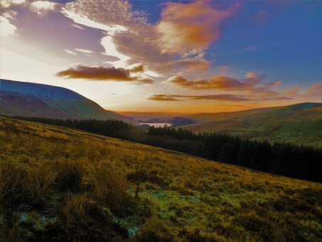 Sunrise, Mountains, Clouds, Autumn, Wales, Pen-y-fan