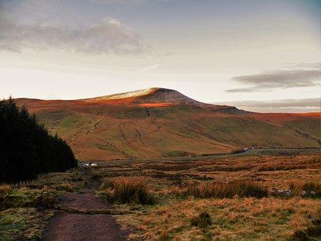 Wales, Pen-y-fan, Sunrise, Mountains, Winter