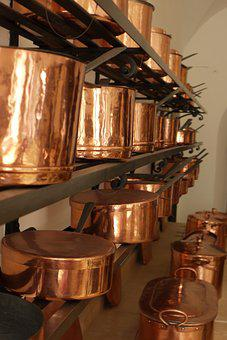 Neuschwanstein, Kitchen, Copper, Pans, Utensil