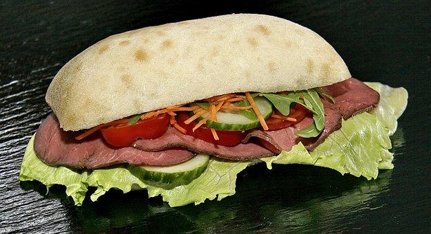 Sandwich, Roast Beef, Cucumber, Carrot, Tomato, Dining