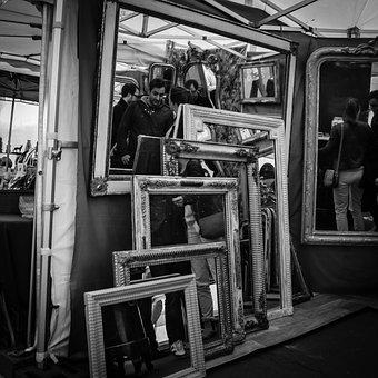 Paris, Street, Rummage Sale, Reflection, Flea Market