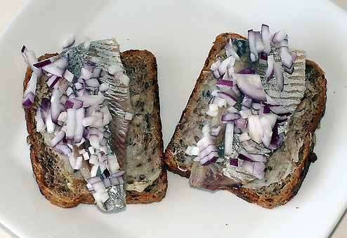 Salted Herring Fillet, Herring, Rye Bread, Fat, Onion