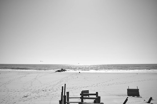 Beach, Banister, Long Island, Sand, Sky, New York