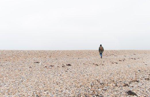 Sea, Stones, Beach, Lonely, Human, Pebble, Pebble Beach