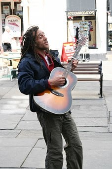Guitarist, Musician, Street, Performer, Guitar, Playing