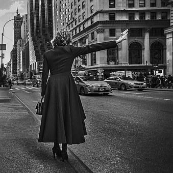 Manhattan, Street, Lady, Downtown, York, New, Urban