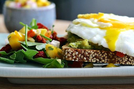 Eggs, Fried, Sunny Side Up, Sandwich, Open Faced, Salad