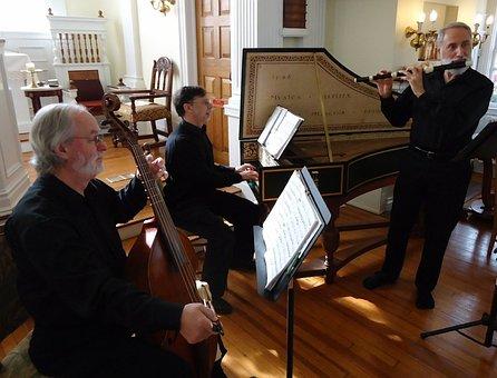 Trio, Music, Harpsichord, Flute, Bass, Inside, Home