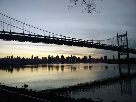Bridge, Astoria, Astoria Park, Dusk, River, Water, Sky