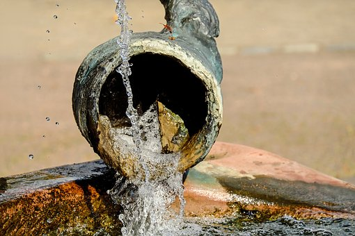 Fountain, Krug, Water Jug, Water Jet, Drop Of Water