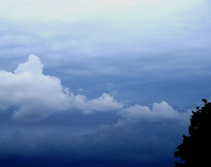 Clouds, Drifting, White, Blue, Distance, Hues, Cool