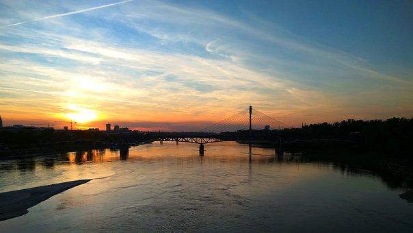 Landscape, Bridge, Warsaw, The Sun, Clouds, City, Water