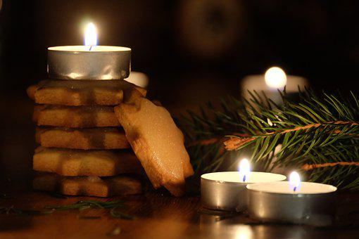 Christmas, Candles, Decoration, December, Biscuits