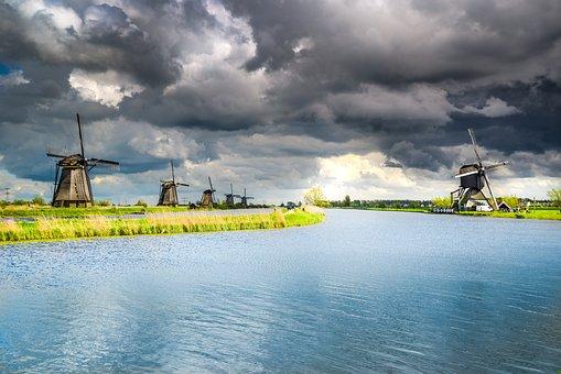Dutch, Windmill, Kinderdijk, Traditional, Mill