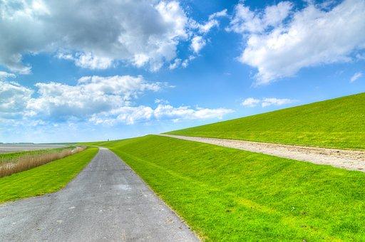 Dutch, Dike, Green, Spring, Netherlands, Landscape, Sky