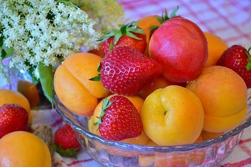 Fruit, Strawberries, Apricots, Nature, Red, Sweet