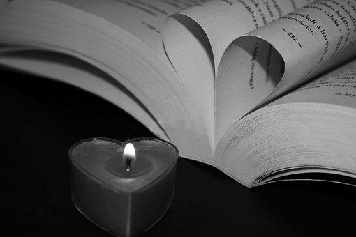 Book, Heart, Candle Flame, Oil Lamp