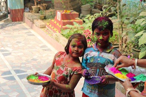 Holi, Kids, Festival, Happy, Boy, Girl, Young, Fun