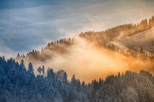 Nature, Landscape, Winter, Cold, Fog, Mountains
