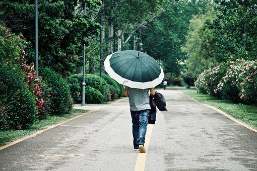 Walk, Umbrella, Rain, Leisure, Road, Solitude