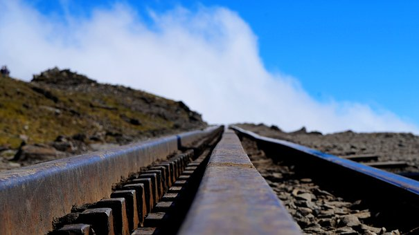 Mountains, Tracks, Sky, Clouds, Rails, Railroad Tracks