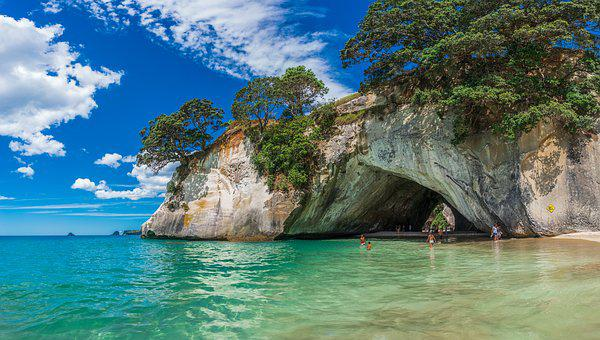Beach, New Zealand, Water, Cathedral Cove, Ocean, Sea