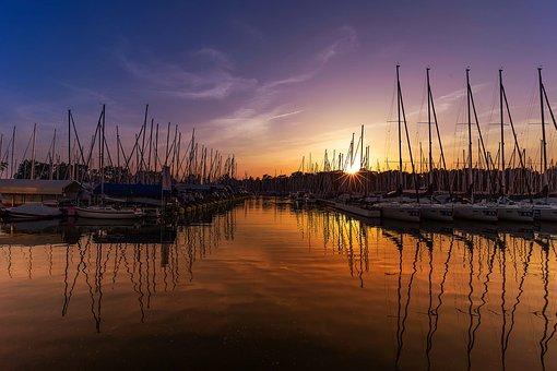 Port, Sunset, Sailing Boat, Boats, Afterglow, Mood