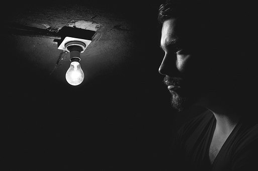 Faded, Thought, Bulb, Light, Shadowed, Man, Male